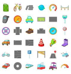 Car traffic icons set cartoon style vector