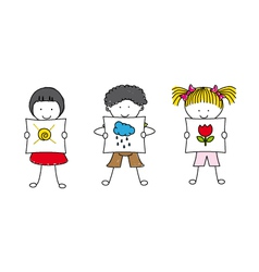 children showing pictures vector image