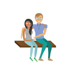 Couple romantic sitting in bench vector