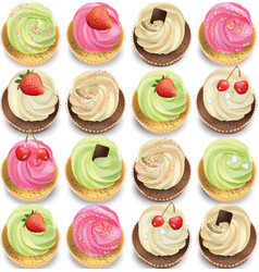 Cupcakes set on a white backgrpund summer vector