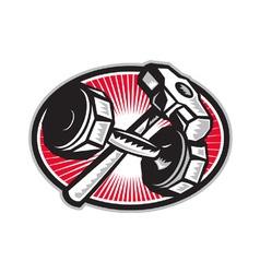 Dumbbell and sledgehammer retro vector
