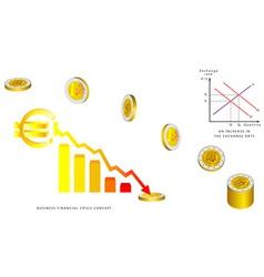 Euro coins falling vector image vector image