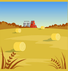 Farm rural landscape with hay beautiful autumn vector