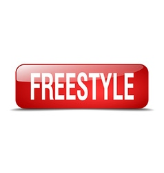Freestyle red square 3d realistic isolated web vector