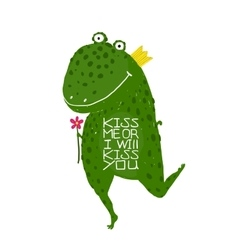 Fun Green Magic Frog Asking for Kiss Smiling vector image vector image
