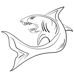 Hand-drawn ink sketch shark vector image