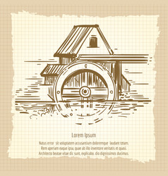 Hand sketched vintage mill poster design vector