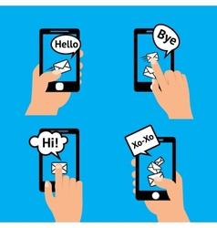 Hand smartphone message vector
