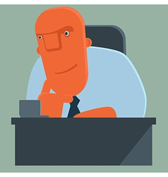 Happy boss listens attentively vector image