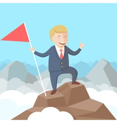 Happy successful businessman with flag in his hand vector image vector image