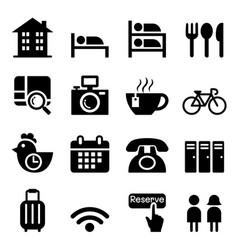 hostel hotel icon set vector image vector image