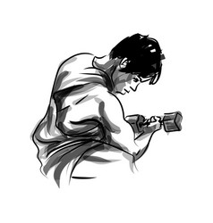 ink sketch of a man exercising vector image vector image