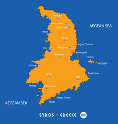 Island of syros in greece orange map and blue vector