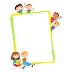 Kids bunner around vertical banner vector