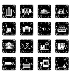 Logistic set icons grunge style vector