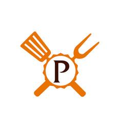 Logo restaurant letter p vector