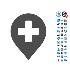 medical cross marker icon with free bonus vector image