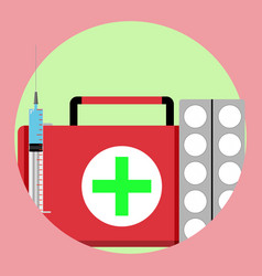 Medication first medical aid icon vector
