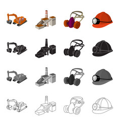 Mountain excavator mine building protective vector