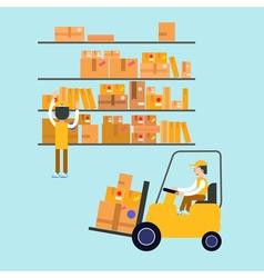 Postmen laid parcels worker on forklift post vector