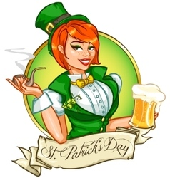Pretty Pin Up Girl with beer mug and smoking pipe vector image