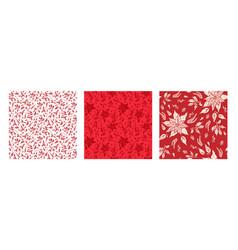 Red floral set vector