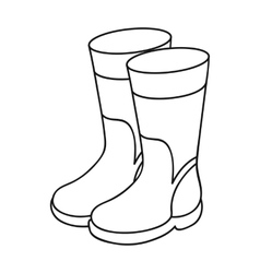 Rubber boots icon in outline style isolated on vector