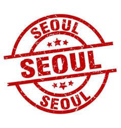 Seoul red round grunge stamp vector