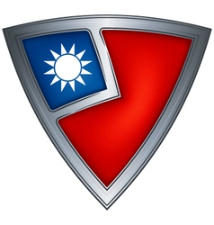 steel shield with flag taiwan vector image vector image
