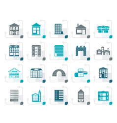 stylized different kinds of houses and buildings vector image vector image
