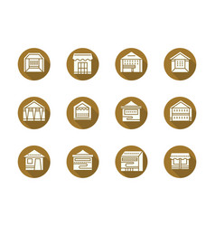 Trade stalls and tents round flat icons vector
