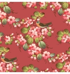 Trendy Seamless Flower Pattern with birds vector image