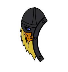 viking face with shield symbol vector image