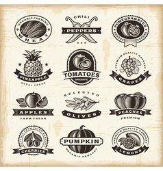 Vintage fruits and vegetables labels set vector image