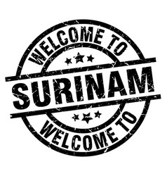Welcome to surinam black stamp vector