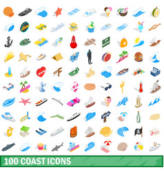 100 coast icons set isometric 3d style vector image vector image