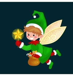 Flying christmas elf isolated with wings and magic vector