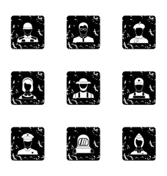 Workers icons set grunge style vector