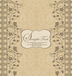 Vintage damask invitation card vector