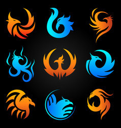 Phoenix fire bird template icons set vector