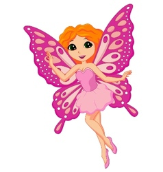 Beautiful pink fairy cartoon vector