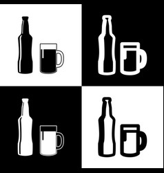 Beer bottle sign  black and white icons vector