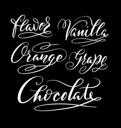 flavor and chocolate hand written typography vector image