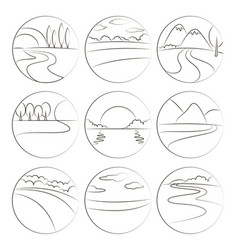 River and landscape icons vector