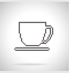 Cup and saucer icon pixel art style vector