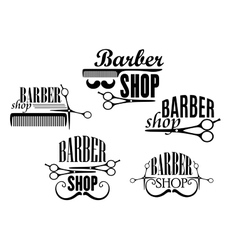 Barber shop badges or signs set vector