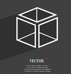 3d cube icon symbol flat modern web design with vector