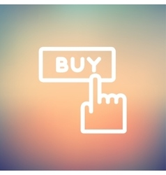 Finger pointing to buy sign thin line icon vector