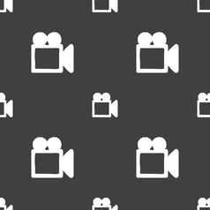 Camcorder icon sign seamless pattern on a gray vector