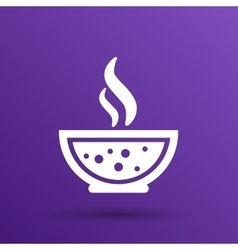 Bowl of hot soup with spoon line art icon vector